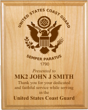 UNITED STATES COAST GUARD LASER PLAQUE