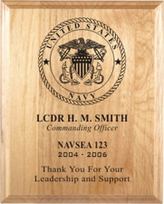 United States Navy Laser Engraved Plaque from Trophy Express