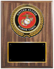 United States Marine Corps Plaque Style on simulated walnut from Trophy Express