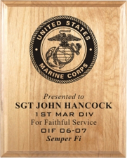 United States Marine Corps Laser Engraved Plaques from Trophy Express